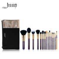 ジェサップブランド 15 ピース美容メイクブラシセットツール紫とゴールド T095 & 化粧品バッグ女性バッグ CB002