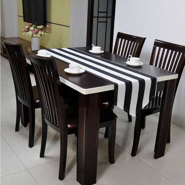 100% pambuk i zi dhe i bardhë me shirita tafellopercaminos de mesa moderna zwart Mbulesa tavoline