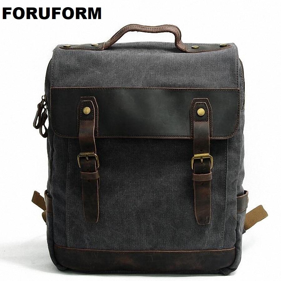 Man's Canvas Backpack Travel Schoolbag Male Backpack Men Large Rucksack Shoulder School Bag Mochila Escolar LI-1920