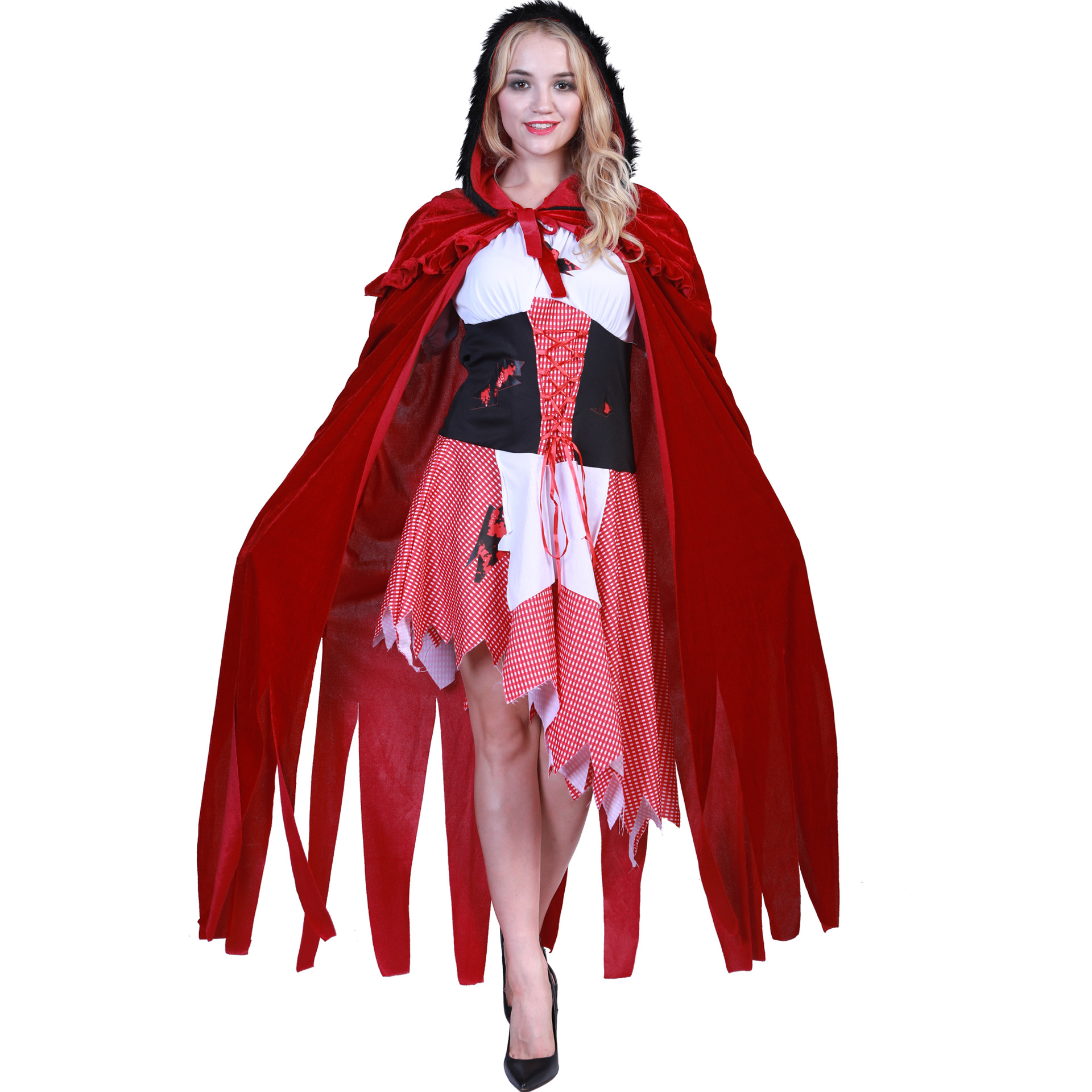 Adult Women Halloween Costume Little Red Riding Hooded Robe Lady Embroidery Dress Party Cloak Outfit for Girls