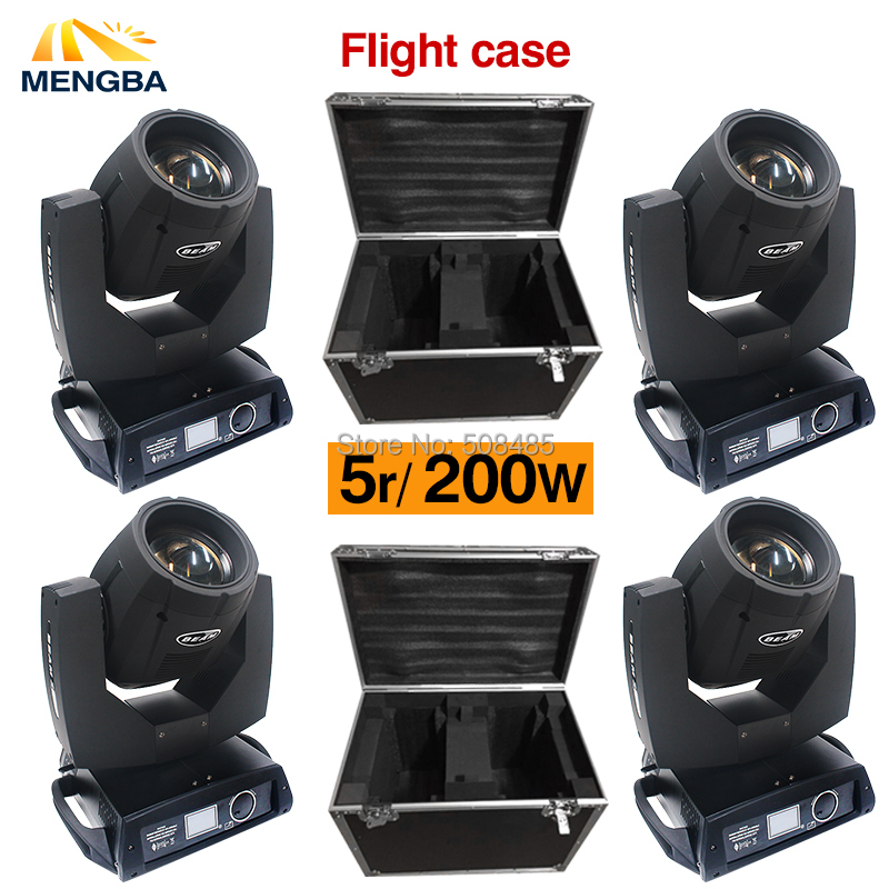 2 Flightcase with 4pcs 200W Beam Spot 2in1 RGBW Led Moving Head Lights LCD Display DMX Controller 17Gobos+14Chips Stage Light