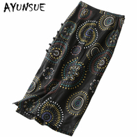 AYUNSUE Autumn Real Leather Skirt for Women Clothes 2019 Korean Elegant Floral Sheep Skin Long Skirt Ladies Jupe Femme LZJ8606A