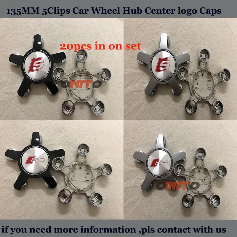 20pcs/set Car emblem badge For Audi 135mm 5Claw ABS Covers label Car Wheel hub center Caps Rims Stickers 135mm 60mm 56mm