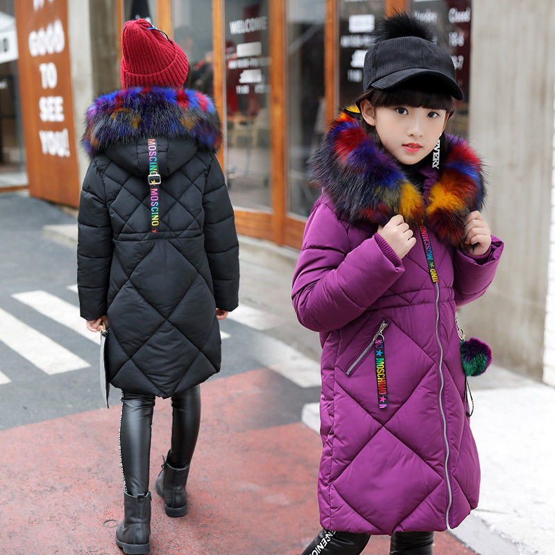 Girls Cotton-padded Long Outerwear & Coats 2018 Autumn Winter Children Warm Clothes Fashion Big Multicolour Fur Collar Jacket цена