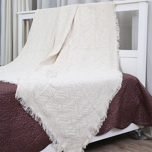 Cotton Knitted Sofa Blanket Cover Decorative Slipcover Throws On Custom Decorative Blankets And Throws
