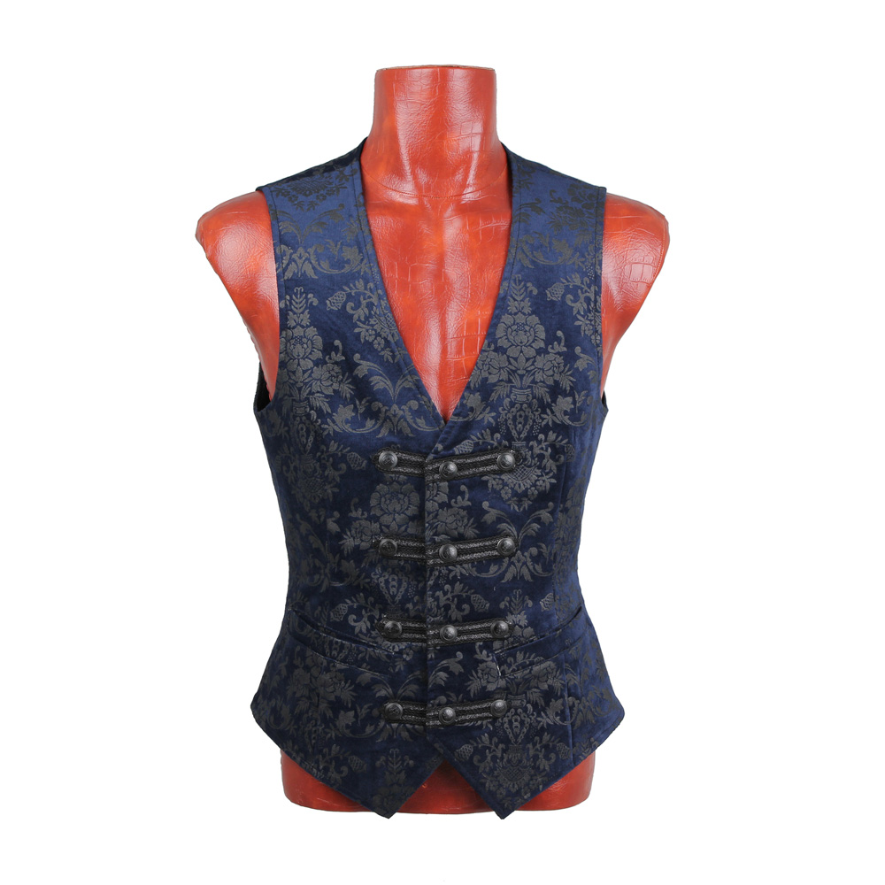 Mens Gothic Punk Rave Palace Blue Vest Top Jacket Visual Kei Streampunk Kera emo Y452-in Vests & Waistcoats from Men's Clothing    1