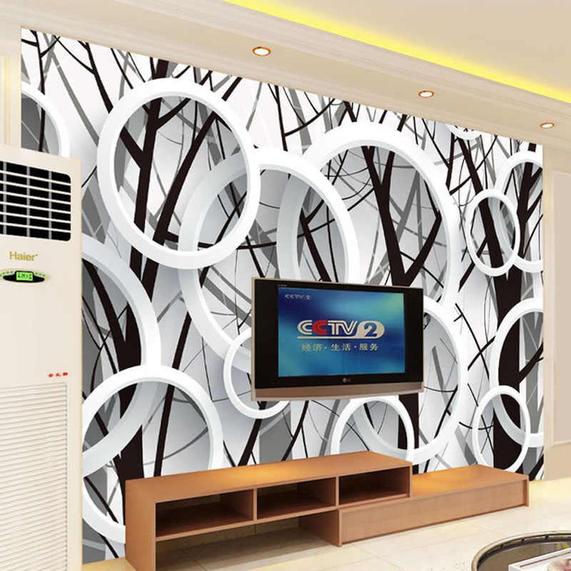 Foto personalizzata Carta Da Parati 3D Stereoscopico Cerchi Astratti Albero di Soggiorno Divano TV Sfondo Carta Da Parati Murales Papel De Parede 3D