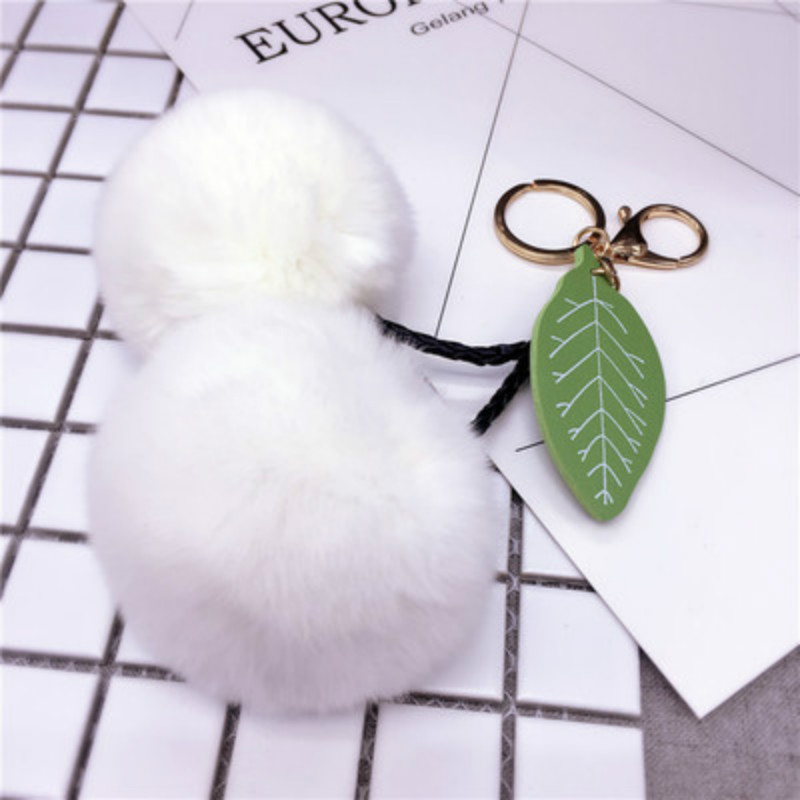 US $1 94 15% OFF|Brand new Double Pompom keychain Cherry Fox Fur Key chain  Bag Car Charm Keyrings-in Key Chains from Jewelry & Accessories on