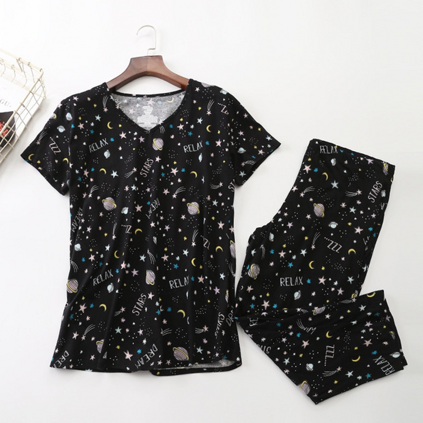 New 2019 Women   Pajamas   Cotton Print Black Bottom Stars   Pajama     Set   Top + Capris Elastic Waist Plus Size 3XL Lounge pijamas S92901