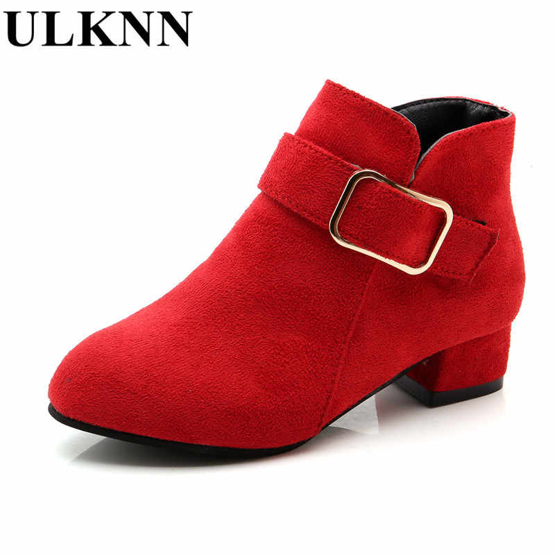 e171b5059b460 ... ULKNN winter Ankle Boots For girls Kids Slip-On Pointed Toe shoes  Children boots high ...