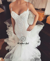 Amazing Tulle Wedding Dresses Mermaid Sexy Spaghetti Straps Sweetheart Neckline Bride Dress