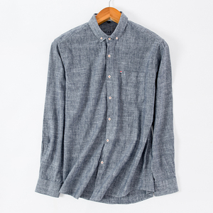 Image 4 - New Design Mens Shirt 80% Cotton Line Soft Long Sleeve Camicia Solid Color Slim Fit High Quality Gray Man Shirts Brand Clothing