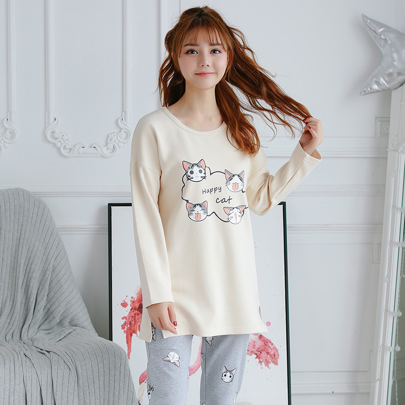 201c4767a9 Autumn Two Piece Set Sleepwear Cute Cat Long Sleeve Cartoon Print Top and  Pants Pajama Sets Homewear Women Sleepwear -in Pajama Sets from Underwear  ...