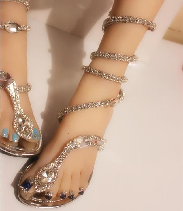 f962eabe117902 Sexy Coiled Serpentine Clip Toe Flat Sandals Bling Crystals Cross ...