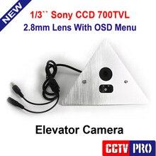 """1/3 """"SONY EFFIO-V DSP CCD 700TVL WDR Esquina Ascensor Cámara de 90 Grados A Prueba de Vandalismo 2.8mm Menú OSD IR 0.001 Lux"""