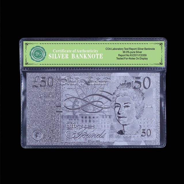 Uk 50 Pound Silver Banknote Original Size Paper Money Whole Banknotes Valued Souvenir Gift With Plastic Frame