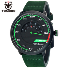 TOMORO Men's Unique Racing Car 3D Design Cow Leather Strap Luxury Fashion Sports Black Quartz Wrist Watch 2016 Brand New TMR1017