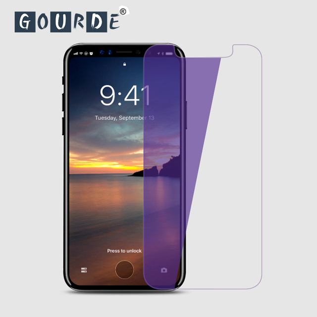 reputable site 44212 fa3dc US $2.89 24% OFF|Gourde Anti Blue Light Screen Protector for iPhone X 9H  Tempered Glass Screen Protector Anti Scratch Glass Film 2pcs/lot-in Phone  ...