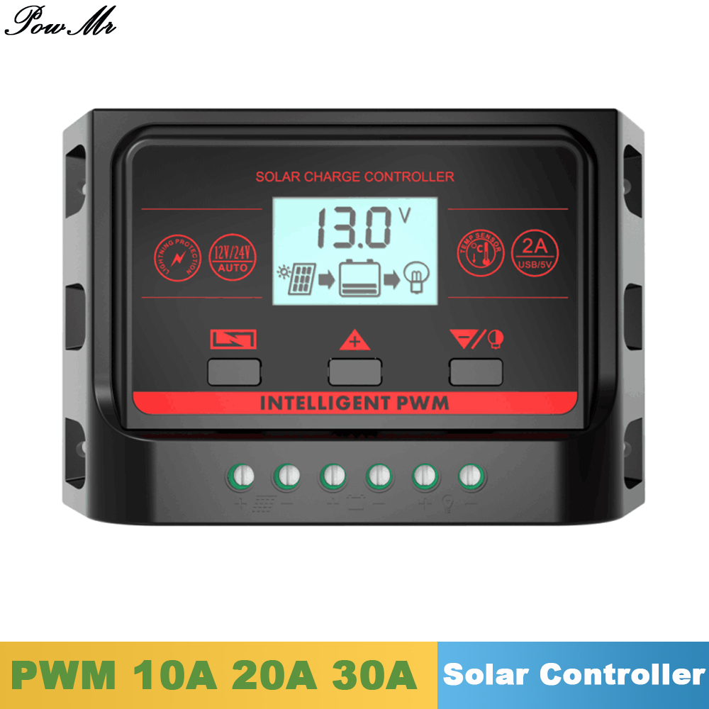 PWM Solar Charge Controller 10A 20A 30A Back Light LCD Display Solar Regulator 12V 24V Auto with 5V Dual USB Output for Lighting pwm mode 20a solar charger controller 12v 24v auto identification with lcd display and usb port 20a solar controller