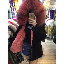 New fashion winter thick warm watermelon red Beaver rabbit fur jacket real raccoon fur collar Rex rabbit fur lining black parka