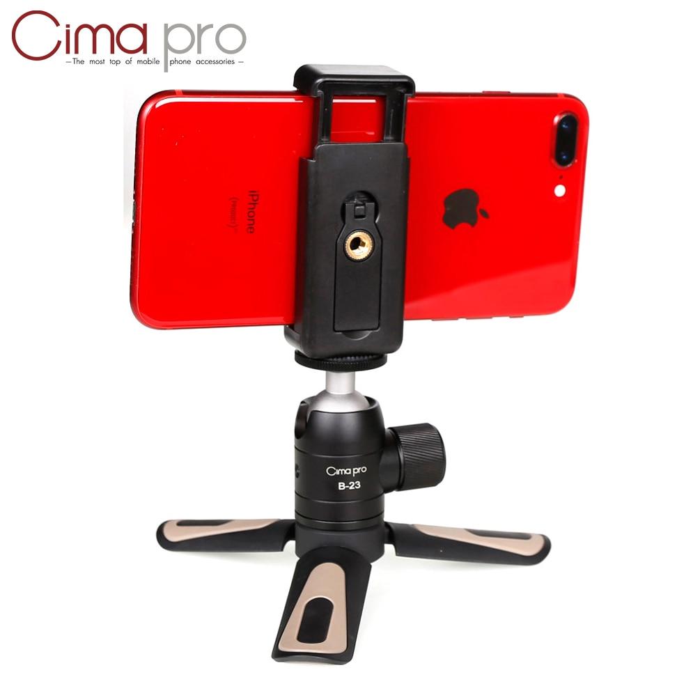 Cimapro Mini Phone Tripod Tabletop Smartphone Mount Clip Holder Stand w Detachable Ballhead for iPhone X/8/7 Plus Huawei Xiaomi