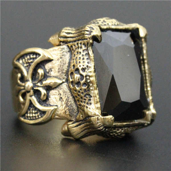ขนาด 7 ~ 13 Cool คุณภาพสูง Shinning Golden คริสตัลสีดำ Anchor แหวน 316L สแตนเลสคุณภาพสูง Biker แหวน