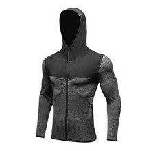 Мужская ветрозащитная шовная спортивная куртка Комфортный эластичный фитнес быстросохнущий с длинными рукавами Контрастная повседневная толстовка с капюшоном на молнии