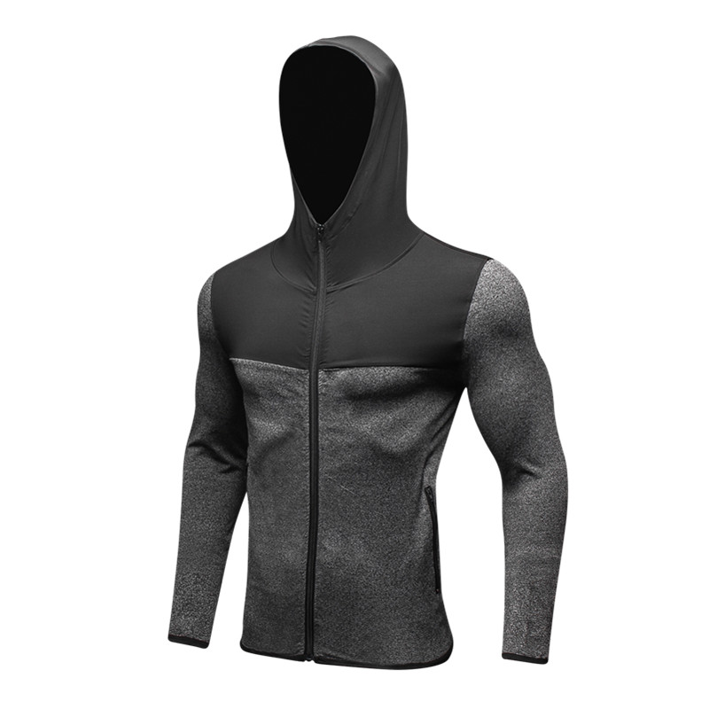 Men's autumn and winter sports jackets Fitness running training quick-drying stretch jacket Contrast zipper high collar hoodie
