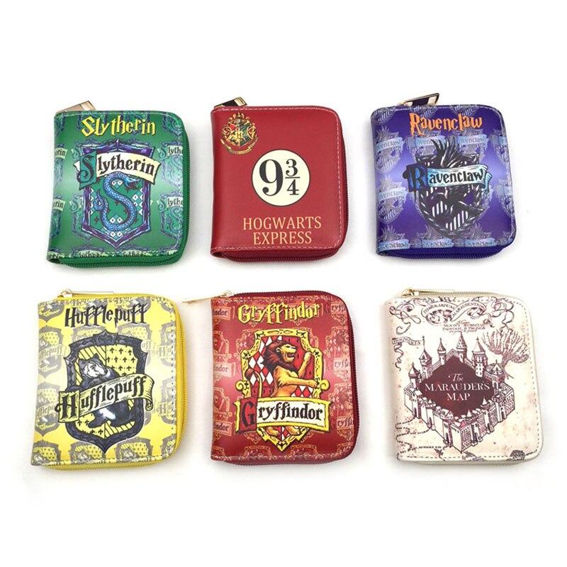 New Hot Colorful Anime Harry Potter PU Short Wallet With Zipper Harry James Potter Card Holder Purse Cartoon Magic school