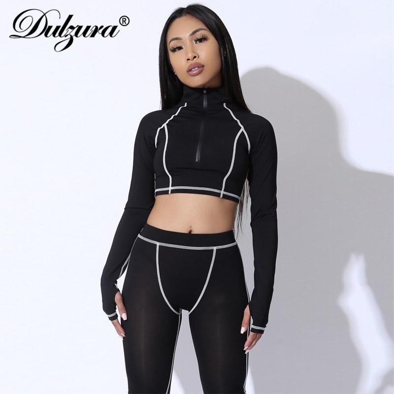 Dulzura 2019 Autumn Winter Women Two Piece Set Crop Top Outfits Fitness Streetwear Matching Sets Coord Set Clothes 2 Piece