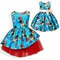 2017 Moana Meninas Vestidos de natal Dos Desenhos Animados bow partido Cosplay do Vestido Extravagante Da Princesa Crianças Vestido de Roupas Crianças traje Para As Meninas