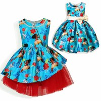 2017 Christmas Moana Girls Dresses Cartoon Bow Party Cosplay Dress Fancy Princess Dress Children Clothing Kids