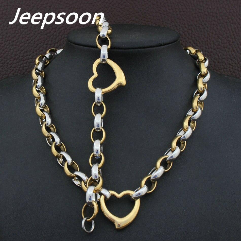 Venta al por mayor, joyería Vintage de acero inoxidable, amor, plata y oro, conjuntos de collar de pulsera para mujer SGEAAZCF