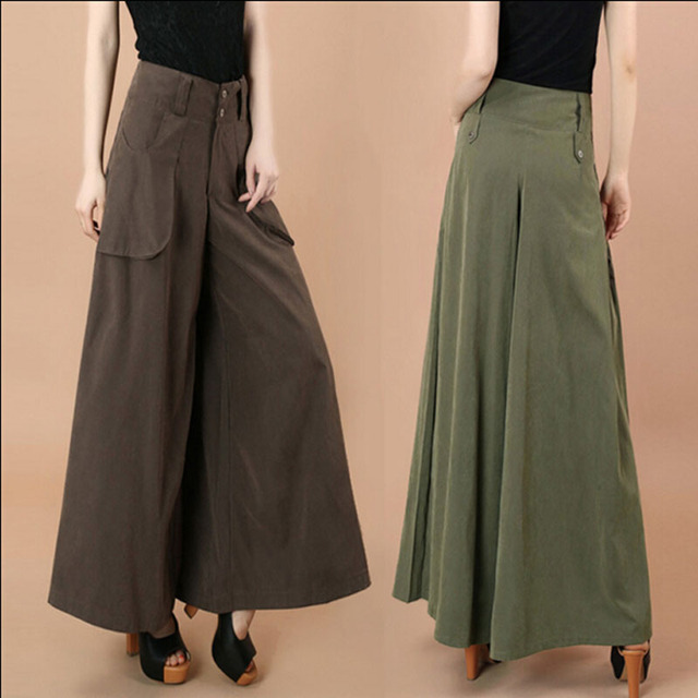 f1190aebfa Women s Plus Size Trousers Slim and Long Culottes Fashion Wide Leg Pants
