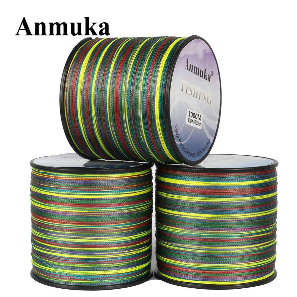 цена на Anmuka 500M Braided Fishing Line 1 Meter 1 Color 8 Strands 20lb-80lb Multi Color Super Strong Japan Multifilament PE Sea Fishing