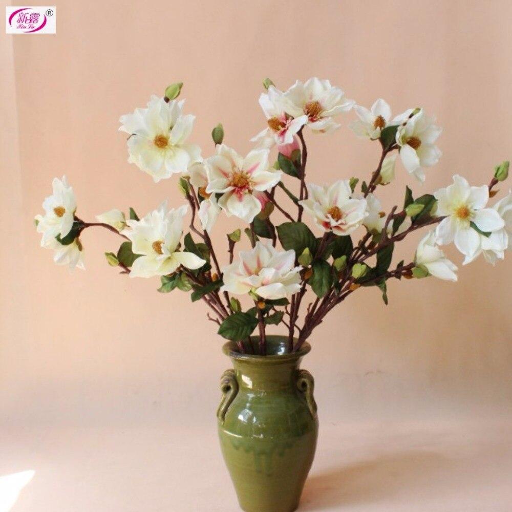 5 Pcs Magnolia Spray Good Quality Free Shipping Silk Artificial