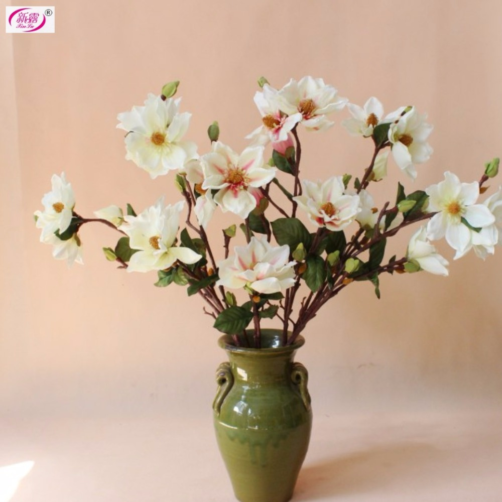 Magnolia spray good quality free shipping silk artificial for Artificial flowers decoration for home