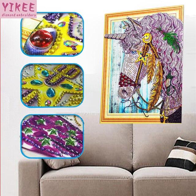 YIKEE,diamond painting cross stitch,special shaped diamond painting,animals,5d,diy,diamond embroidery