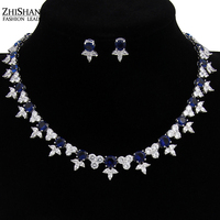 Luxury White Gold Plated Dark Blue Sapphire Cubic Zirconia Diamond Bridal Wedding Jewelry Sets For Women