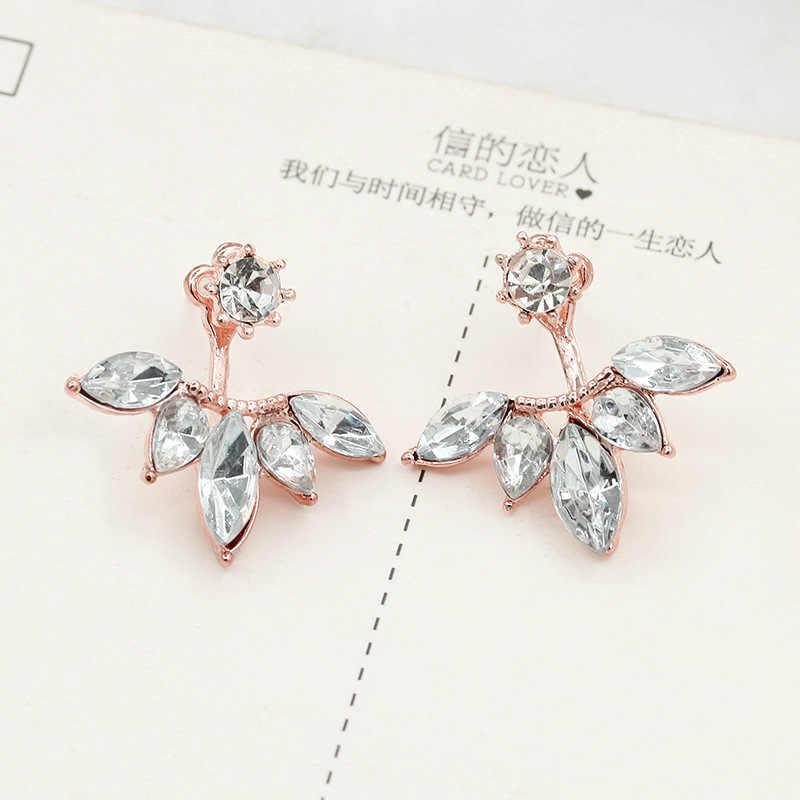 ... Double Side Flower Stud Earrings Rose Gold Silver Crystal Earring For  Women Zircon Rhinestone Charm Pendientes 761ba6211f68