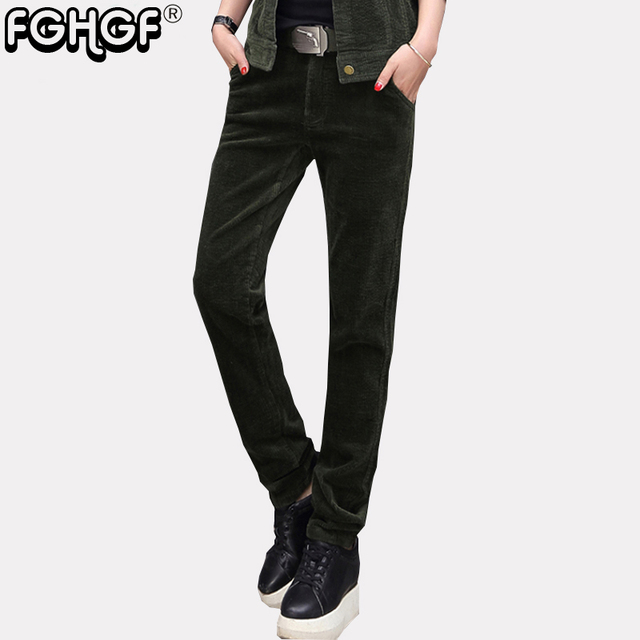 689e690c9f6b FGHGF Brand Camouflage Army Green Pants Women corduroy Pants Women Military  Trousers Fashion Casual Slim Pants
