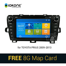 NEW IOKONE Car DVD Video Player GPS navi Stereo multimedia for Toyota Prius 2009-2013 With Bluetooth SWC iPOD 8G SD card