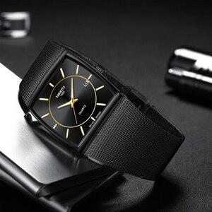 Image 3 - NIBOSI montres hommes en acier inoxydable maille bracelet noir montre bracelet affaires créatif carré montres hommes horloges Relogio Masculino