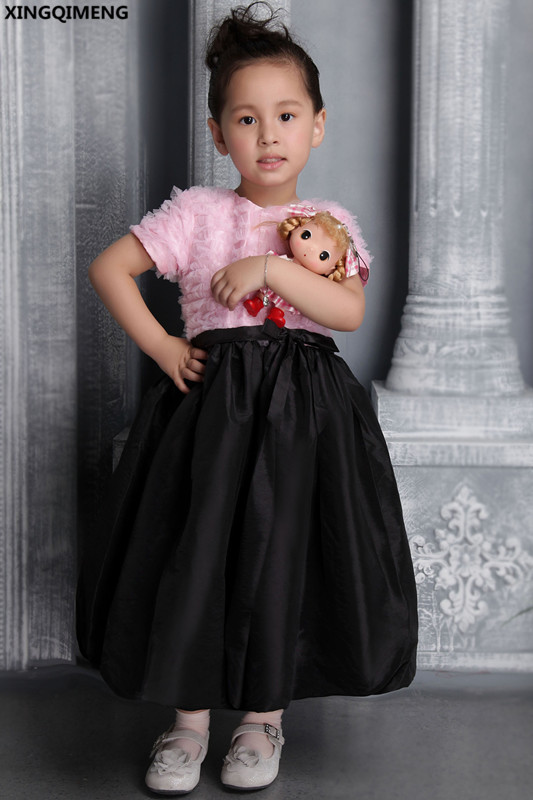 Pink And Black Flower Girl Dresses Short Sleeve First Holy Communion