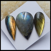 Wholesale 3Pcs Natural Stone Shiny Flashy Labradorite Water Drop Shape Cabochons 35x15x6mm 40x26x8mm 21.05g Fashion DIY Jewelry