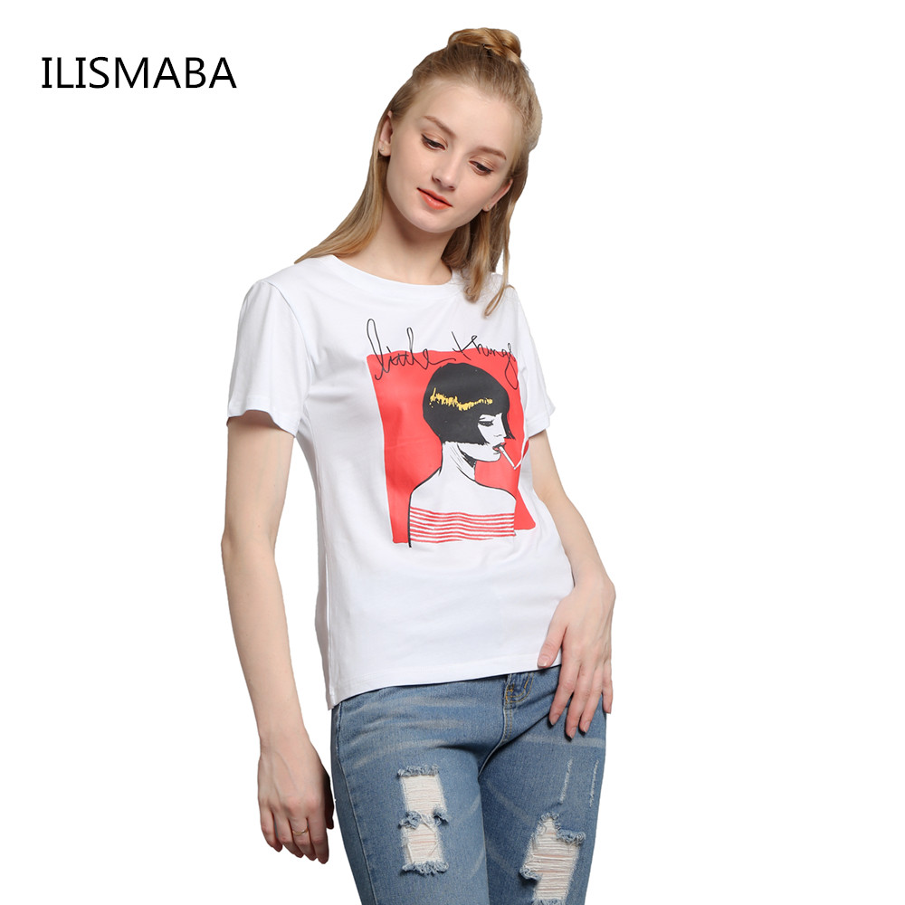 Ilismaba 2017 ladies fashion summer short sleeved round for Cheap t shirt printing no minimum