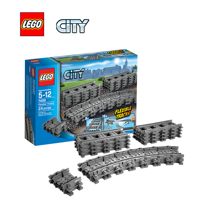 ФОТО LEGO City Flexible and Straight Tracks Architecture Building Blocks Model Kit Plate Educational Toys For Children L7499