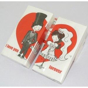 Image 2 - Vintage Servet Papier Tissue Gedrukt Rode Liefde Hart Bruid Bruidegom Voor Ooit Kleine Zakdoek Bruiloft Servetten Partij 2 Packs = 20 Pcs
