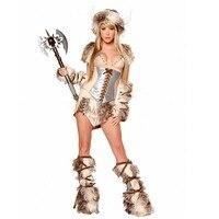 Sexy Vikings Woman Halloween Cosplay Costume Top Skirt Leg Warmers Hood