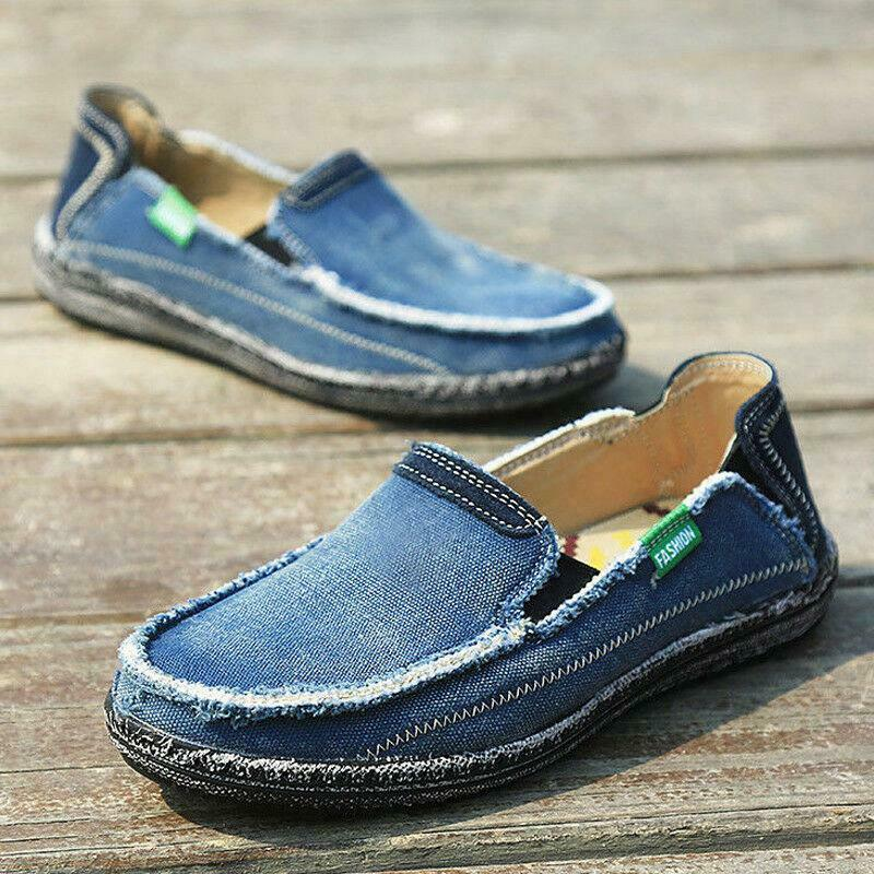 Hommes bleu appartements doux confort Denim toile conduite bateau chaussures sans lacet Denim mocassins 3 couleurs espadrilles décontractées nouveau A36
